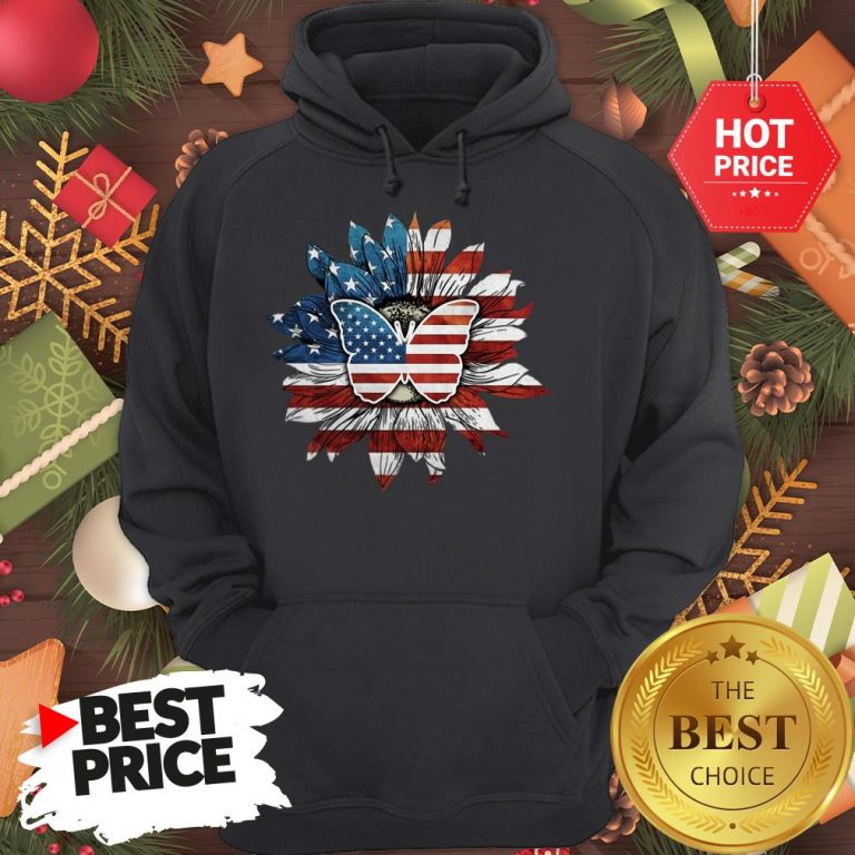 Butterfly And Flag Sunflower America Hoodie