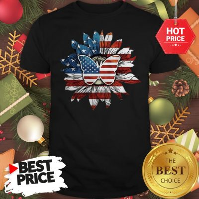 Butterfly And Flag Sunflower America Shirt