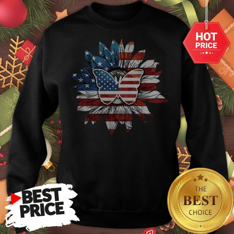 Butterfly And Flag Sunflower America Sweatshirt