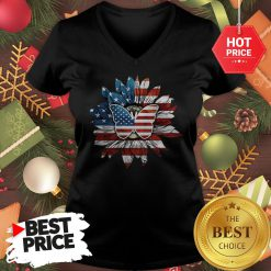 Butterfly And Flag Sunflower America V-Neck