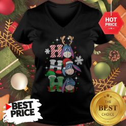 Cute Eeyore Ho Ho Ho Christmas V-Neck