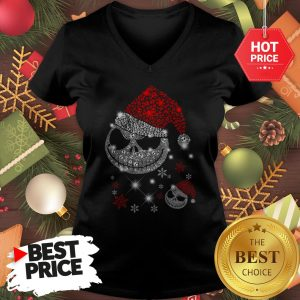 Diamond Santa Claus Skull Christmas Funny V-Neck