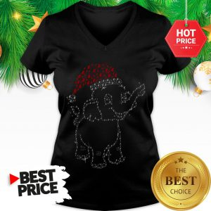 Elephant Christmas Lights Merry Christmas Santa V-Neck