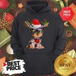 Funny Yorkie Christmas Reindeer Antlers Snow Gift Hoodie