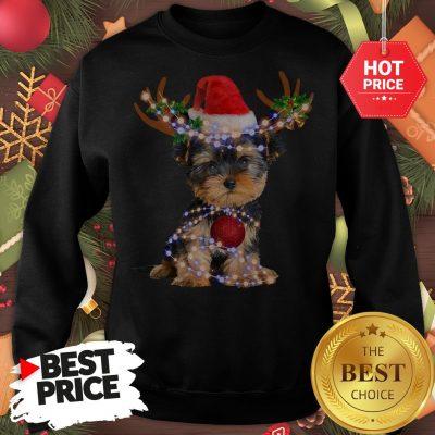 Funny Yorkie Christmas Reindeer Antlers Snow Gift Sweatshirt