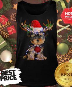 Funny Yorkie Christmas Reindeer Antlers Snow Gift Tank Top