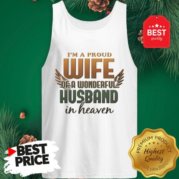 I'm A Proud Wife Of A Wonderful Husband In Heaven Angel Wings Tank Top