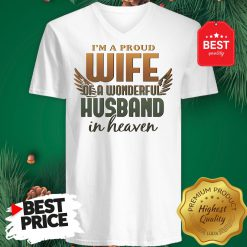 I'm A Proud Wife Of A Wonderful Husband In Heaven Angel Wings V-Neck