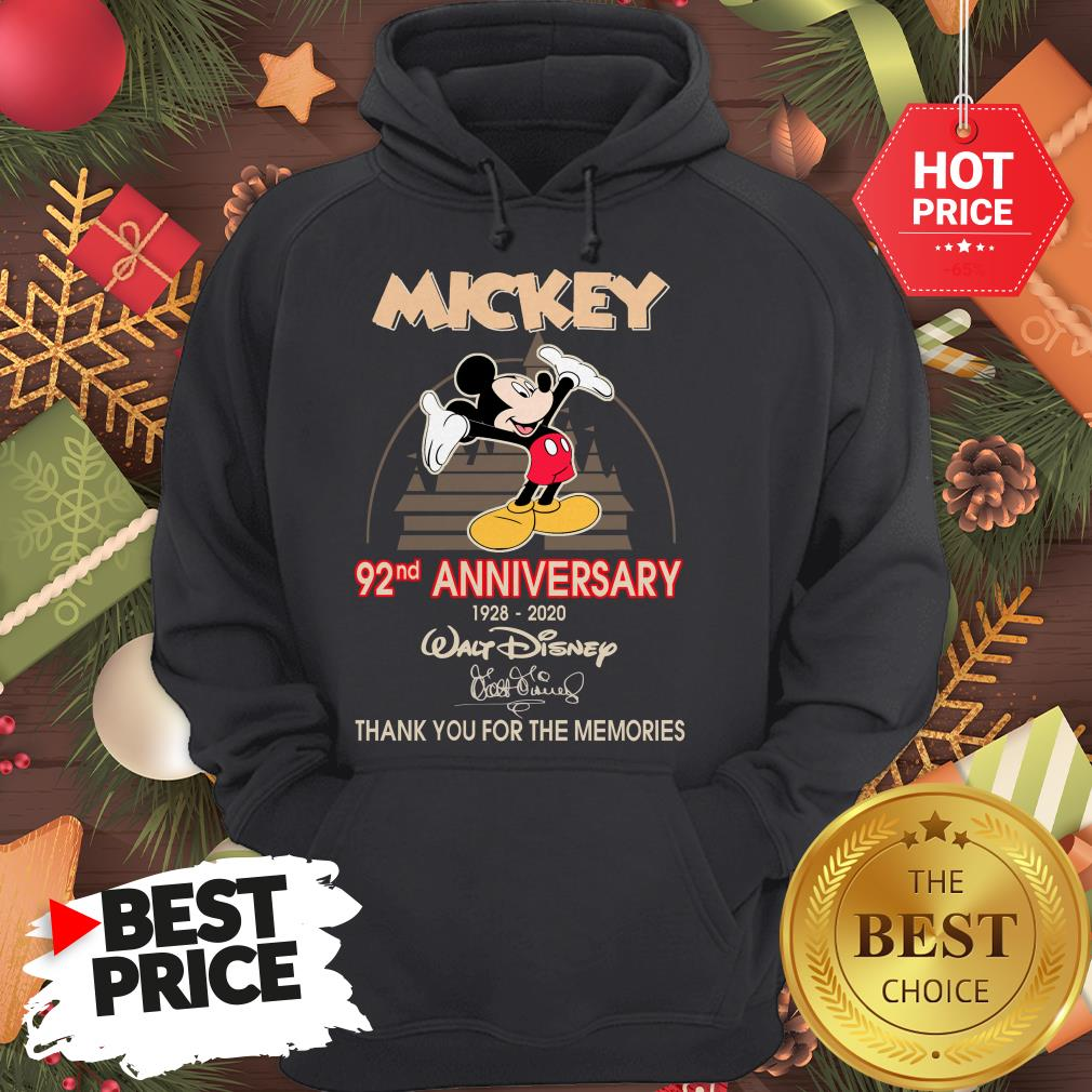 Mickey 92nd Anniversary 1928-2020 Thank You for The Memories Hoodie