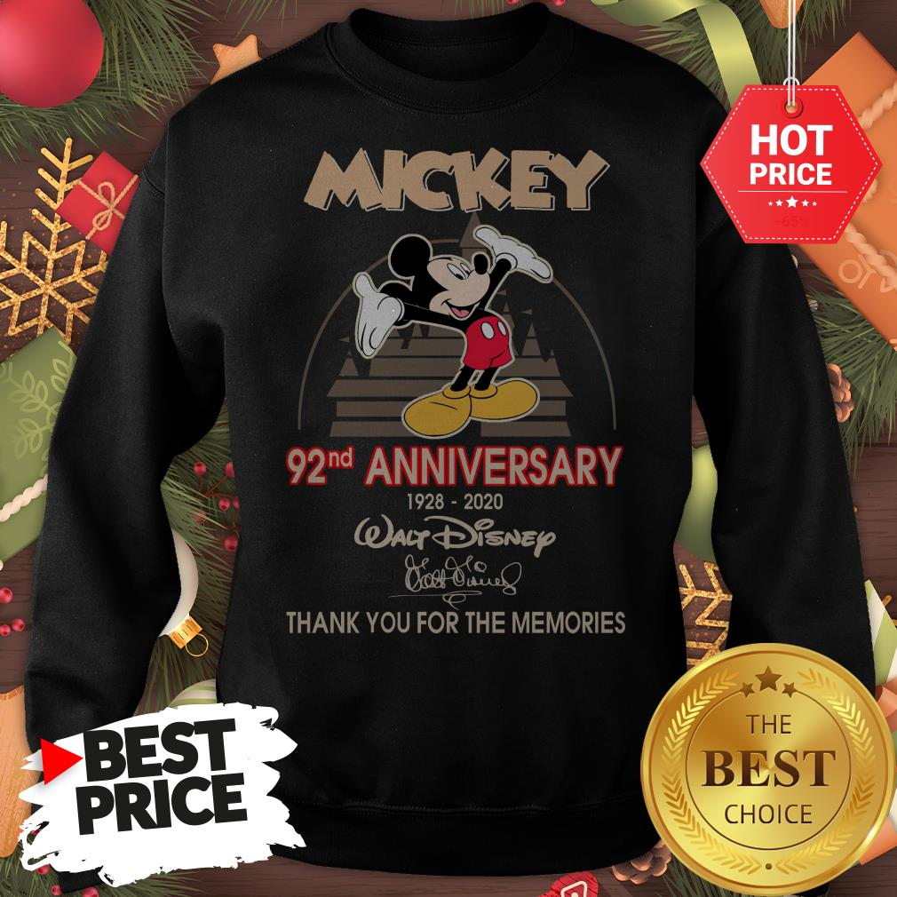 Mickey 92nd Anniversary 1928-2020 Thank You for The Memories Sweatshirt