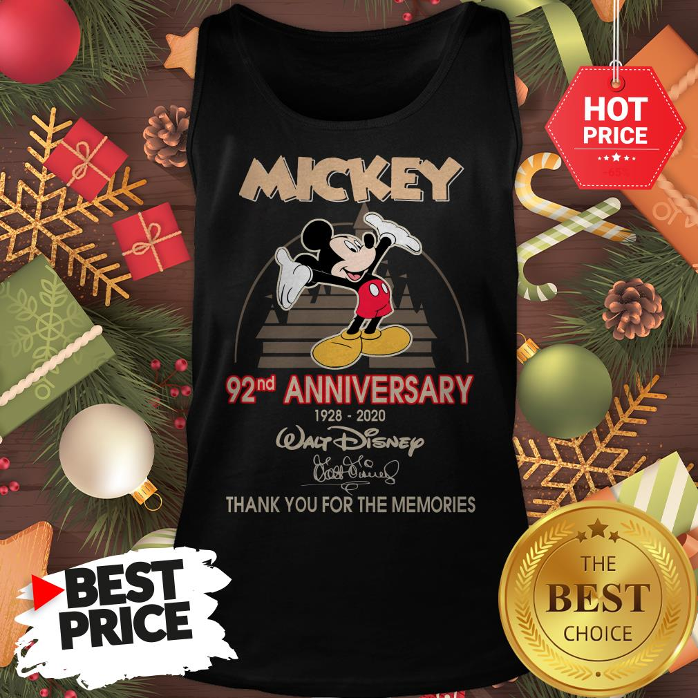 Mickey 92nd Anniversary 1928-2020 Thank You for The Memories Tank Top