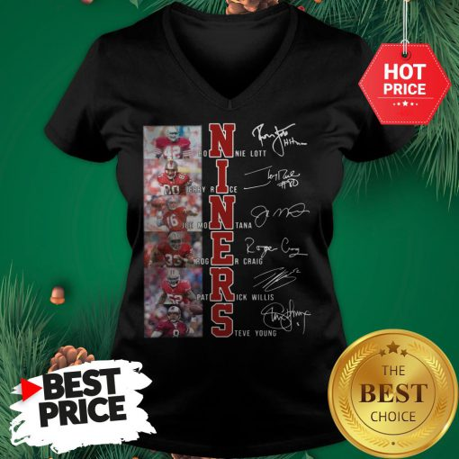 Niners Signatures Ronnie Lott Jerry Rice San Francisco 49ers V-Neck