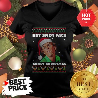 Official Drop Dead Fred Hey Snot Face Merry Christmas Ugly Christmas V-Neck