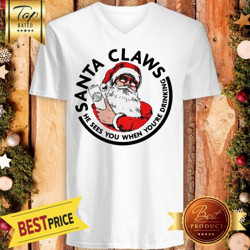 Official Santa Claws He Sees You When You're Drinking V-Neck