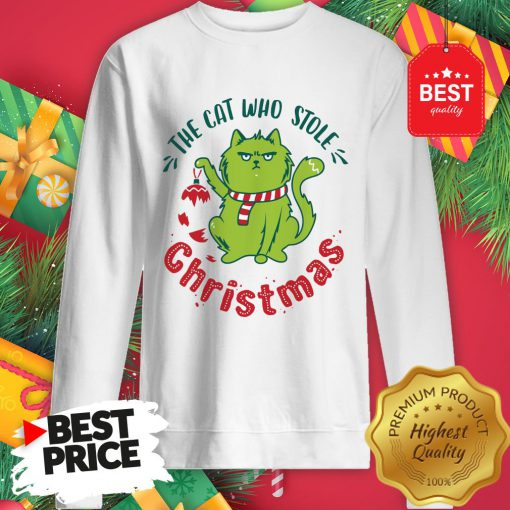 Pretty The Cat Who Stole Christmas Holiday Purresents Cartoon Funny Sweatshirt