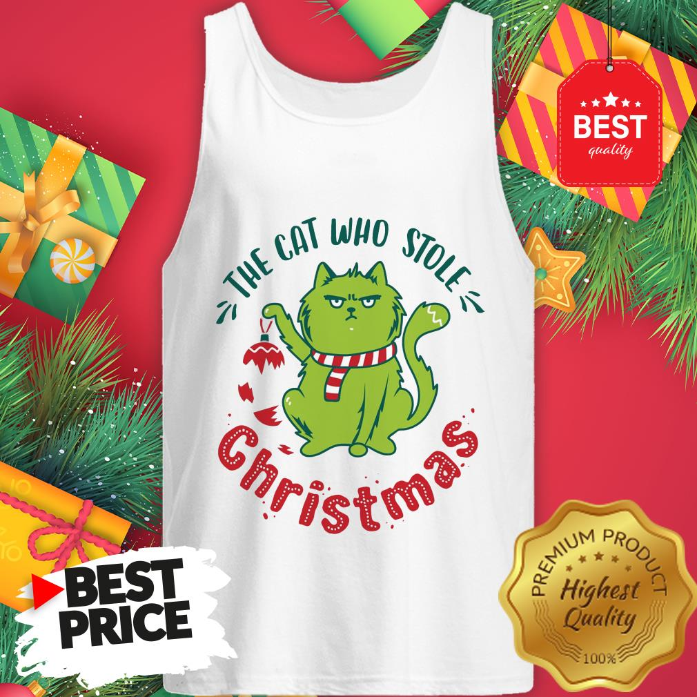 Pretty The Cat Who Stole Christmas Holiday Purresents Cartoon Funny Tank Top