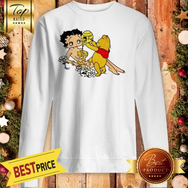 Winnie The Pooh Pouring Honey On Betty Boop Sweatshirt