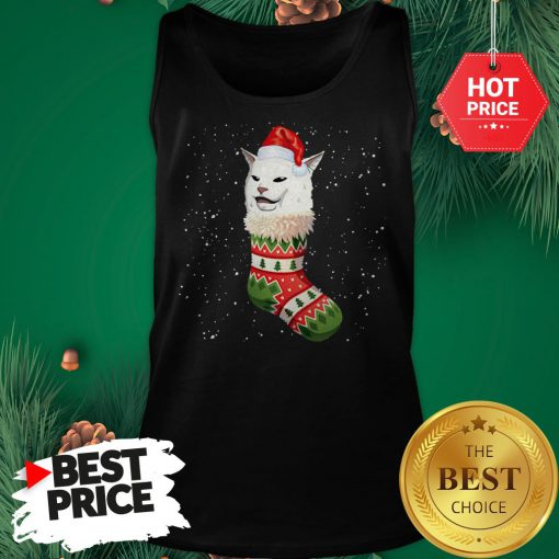 Cat Ugly Christmas Cat In Stocking Ugly Christmas Kids Tank Top