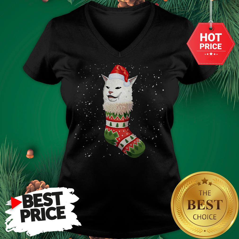 Cat Ugly Christmas Cat In Stocking Ugly Christmas Kids V-Neck