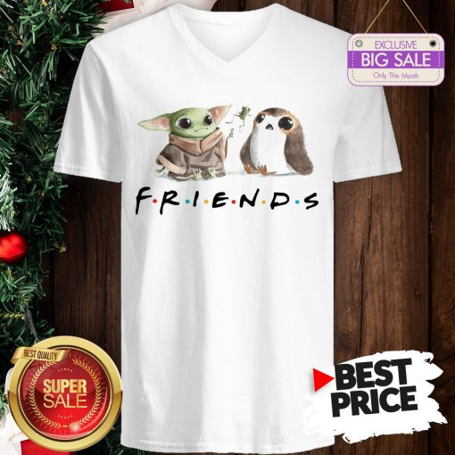 Funny Baby Yoda Frog And Penguin Friends V-Neck