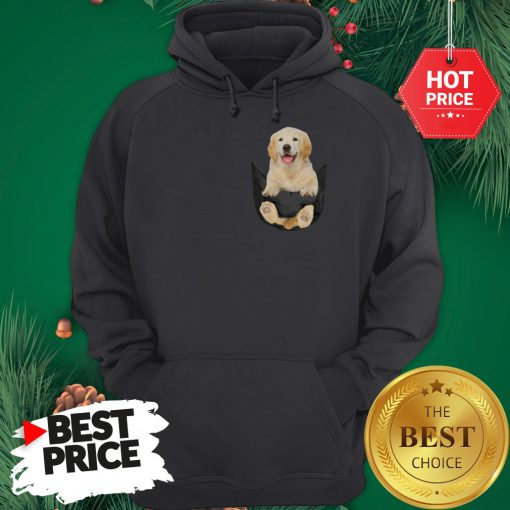 Funny Golden Retriever In Pocket Puppy Hoodie