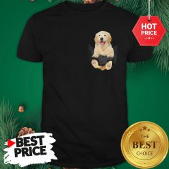 Funny Golden Retriever In Pocket Puppy Shirt