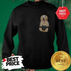 Funny Golden Retriever In Pocket Puppy Sweatshirt