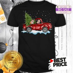 Funny Pitbull Dog Pickup Truck Christmas Shirt