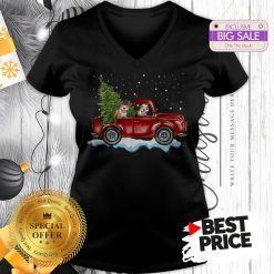 Funny Pitbull Dog Pickup Truck Christmas V-Neck
