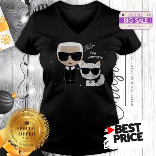 Karl Otto Lagerfeld And Choupette Ikonik Cat A Good V-Neck