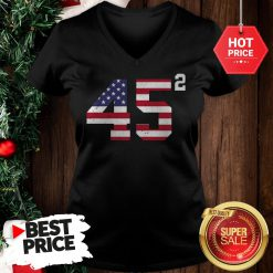 Official 45 Squared Trump 2020 Second Time President V-Neck