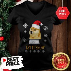 Official Cute Santa Doge Let It Snow Christmas V-Neck