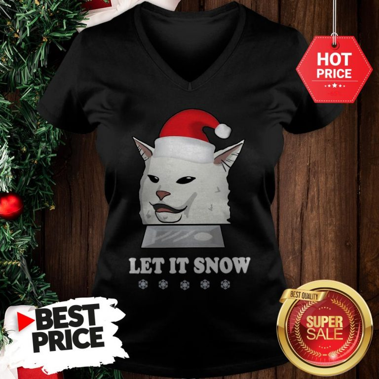 Official Funny Sant Cat Woman Yelling Let It Snow V-Neck