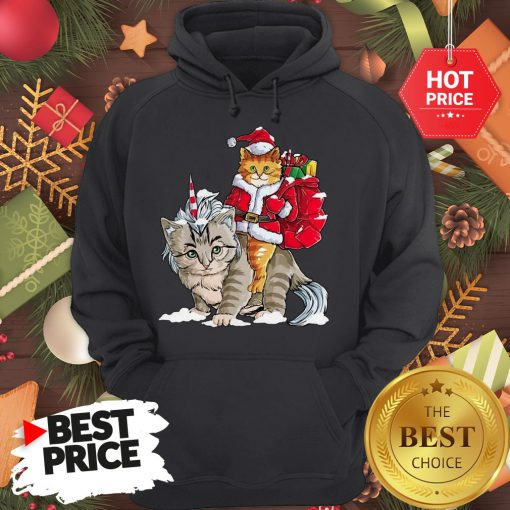 Official Funny Santa Riding Cat Ugly Sweater Christmas Gift Hoodie