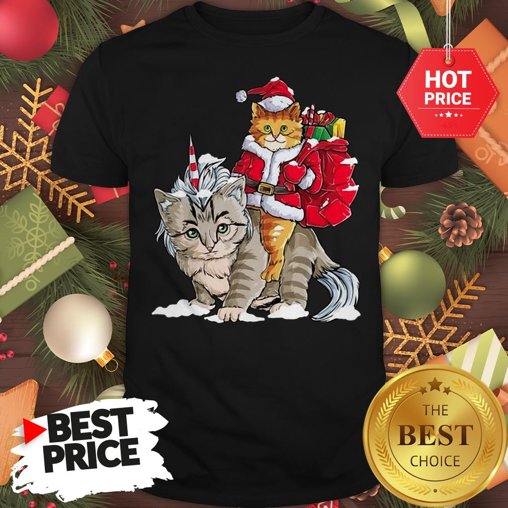 Official Funny Santa Riding Cat Ugly Sweater Christmas Gift Shirt