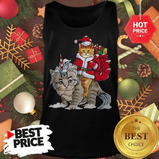 Official Funny Santa Riding Cat Ugly Sweater Christmas Gift Tank Top