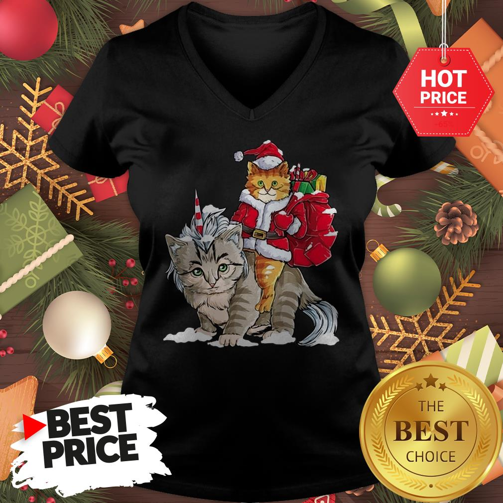 Official Funny Santa Riding Cat Ugly Sweater Christmas Gift V-Neck