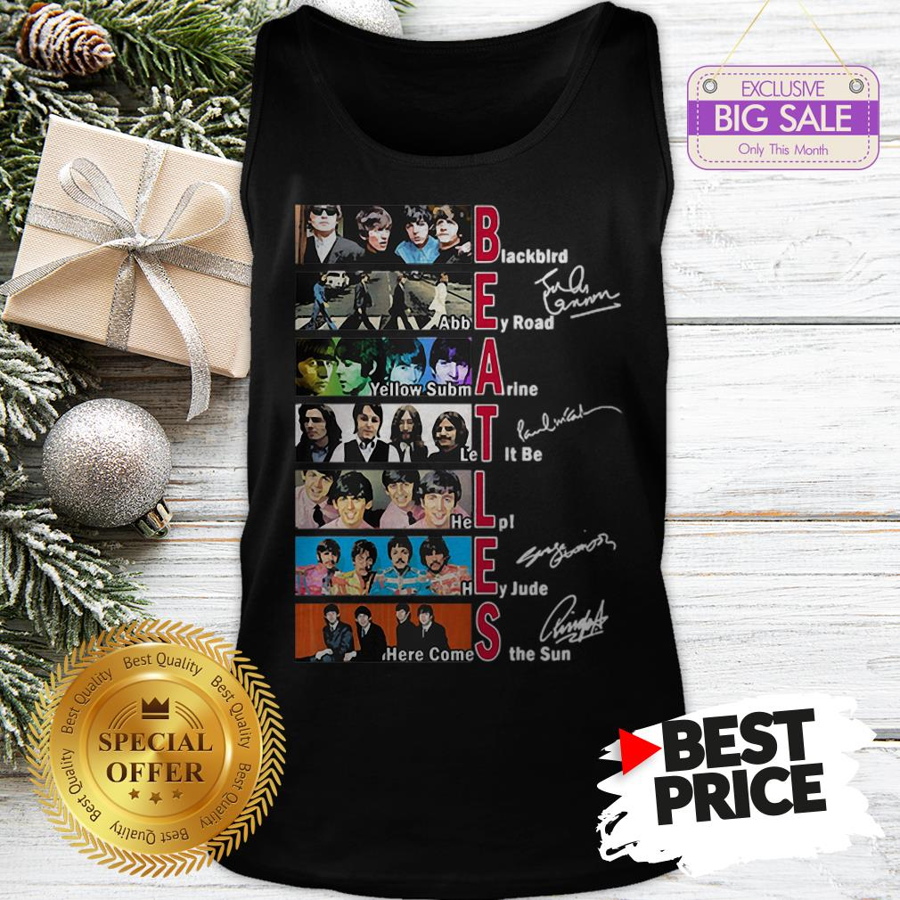 Official Hot The Beatles Blackbird Abbey Road Let It Be All Signature Tank Top