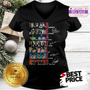 Official Hot The Beatles Blackbird Abbey Road Let It Be All Signature V-Neck