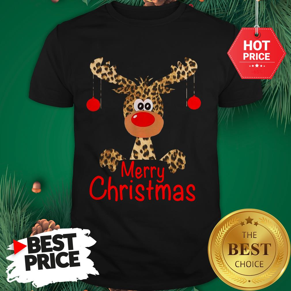 Official Leopard Reindeer Merry Christmas Funny Shirt