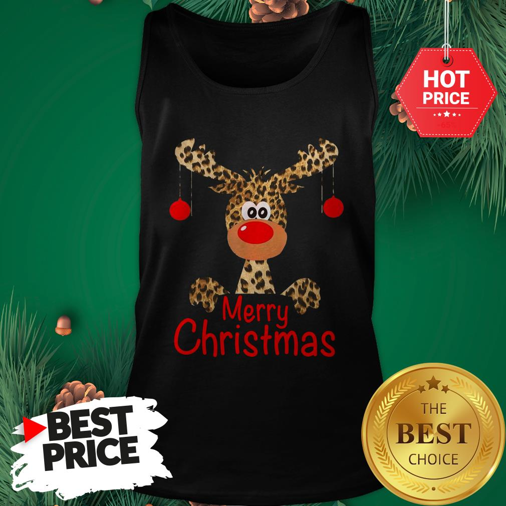 Official Leopard Reindeer Merry Christmas Funny Tank Top