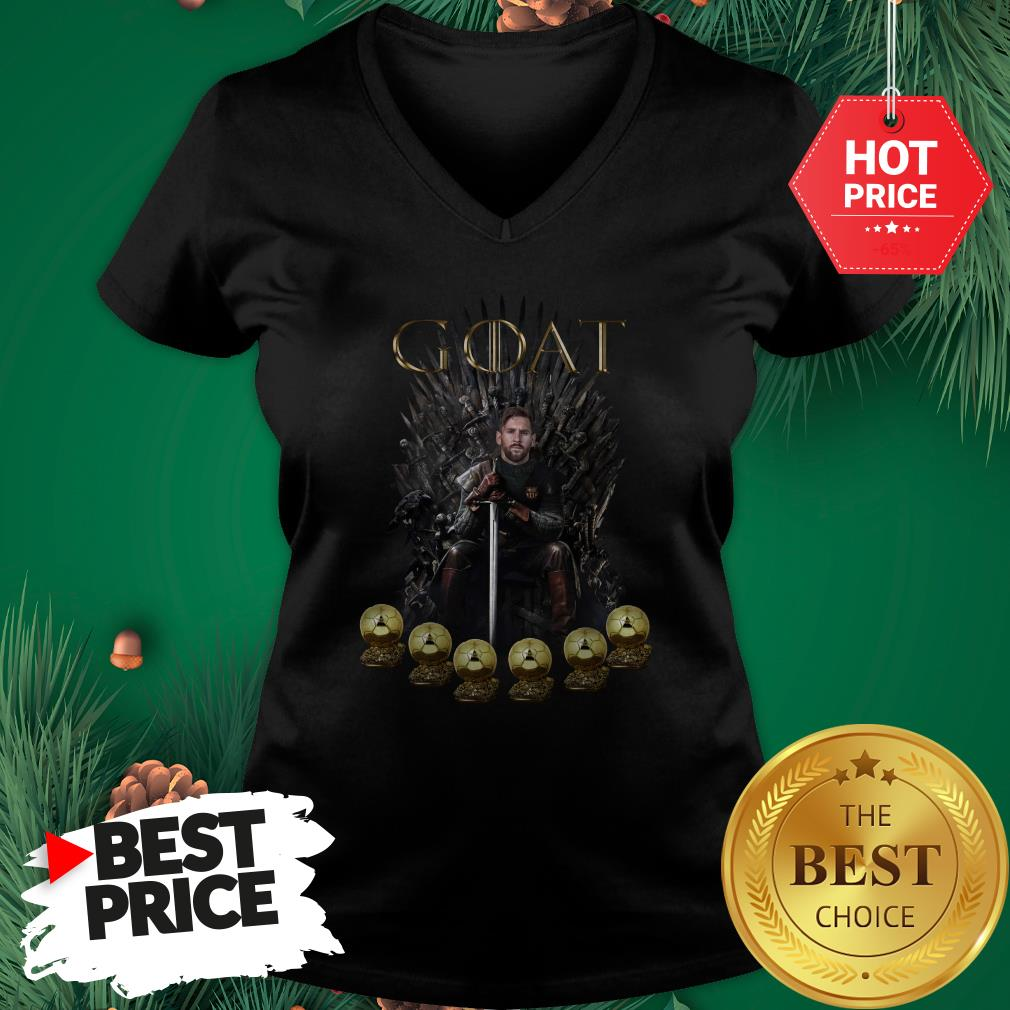 Official Lionel Messi 6 Golden Ball Goat Game Of Throne Signature V-Neck