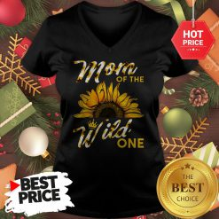 Official Mom Of The Wild One 1St Birthday Sunflower Outfit V-neck