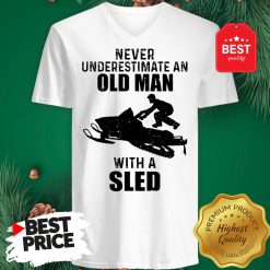Official Never Underestimate An Old Man With A Sled V-Neck