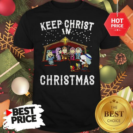 Official Peanuts Characters Keep Christ In Christmas Snoopy Charlie Brown Shirt