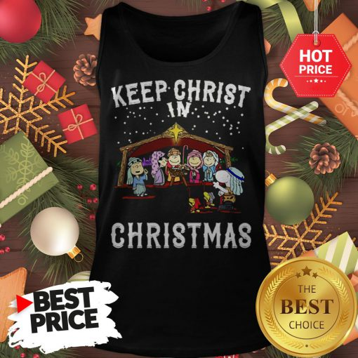 Official Peanuts Characters Keep Christ In Christmas Snoopy Charlie Brown Tank Top