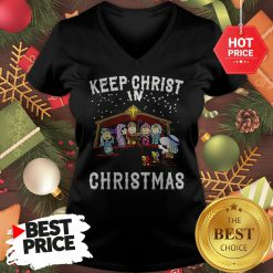 Official Peanuts Characters Keep Christ In Christmas Snoopy Charlie Brown V-neck