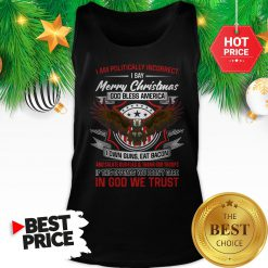 Official Politically Incorrect Merry Christmas God Bless America Eagle I Am Tank Top