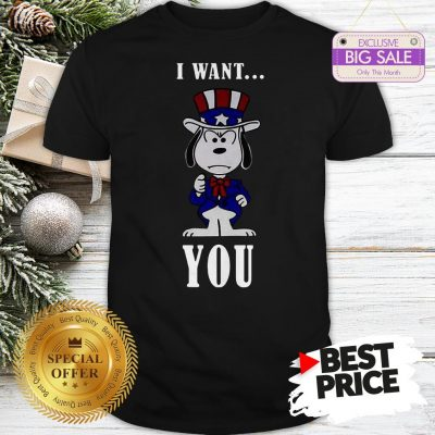 Official Snoopy American Flag I Want You Shirt