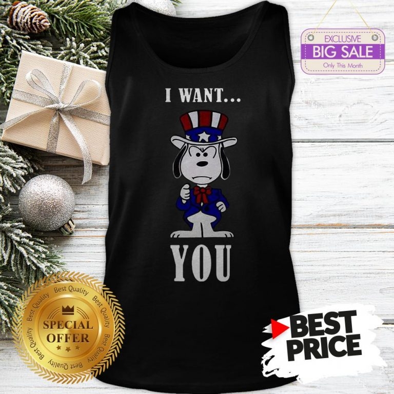 Official Snoopy American Flag I Want You Tank Top